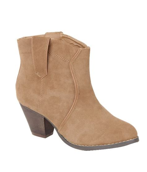 cobblerz light brown ankle length heel boots price in
