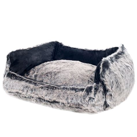 faux fur dog bed petmaker small faux fur black mink dog bed 80 1000 m the