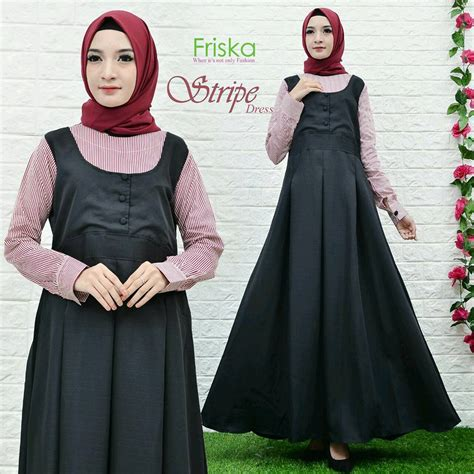 Dress Friska stripe dress by friska black marun