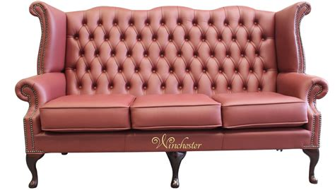 High Back Wing Sofa by Chesterfield 3 Seater High Back Wing Sofa