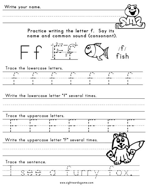 printable worksheets letter f the letter f