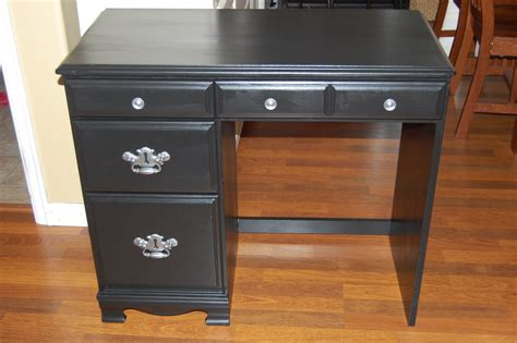 Furniture Rectangle Black Wooden Desk With Double Drawers