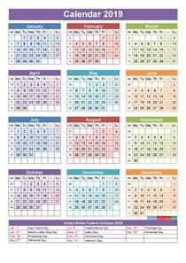 Yearly Calendar 2019 Printable 2019 Calendar With Holidays Printable Yearly Calendar