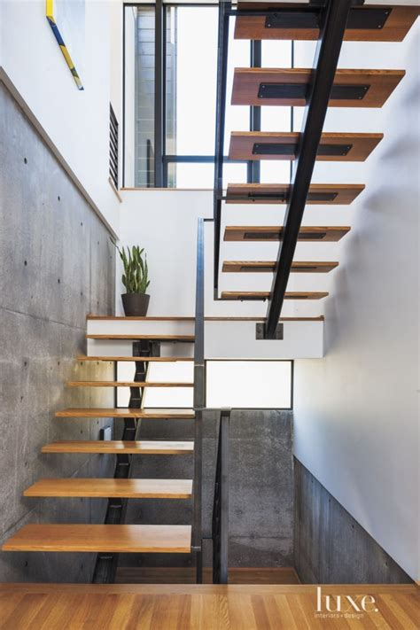 contemporary stairs modern white oak and steel staircase luxe halls