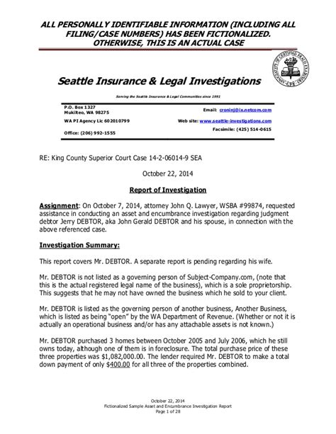 fraud investigation report template sle fictionalized asset and encumbrance investigation