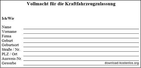 Kostenlose Vorlage Vollmacht vollmacht vorlage f 252 r die zulassungsstelle kostenlos