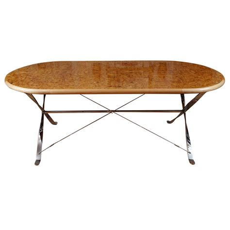 Maple Dining Tables Oval Burl Maple Dining Table On Stainless Steel Base At 1stdibs