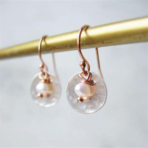 Handmade Gold Earrings Uk - snow white pearl and gold earrings hazey designs