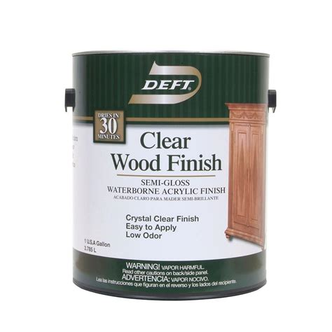 deft 1 gal semi gloss interior clear wood finish waterborne acrylic 10801 the home depot