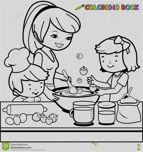 bimbi cucinano disegno da colorare mamma cucina madre e bambini
