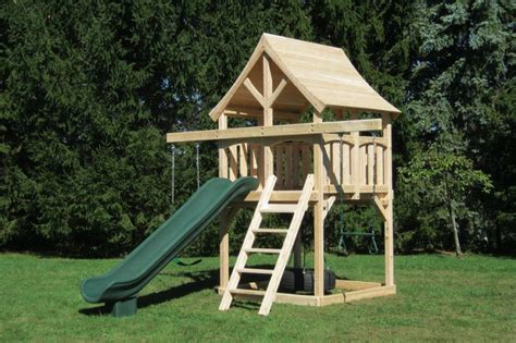 Small Wood Swing Set small space swing set idea build with sandbox that covers from white plans in side