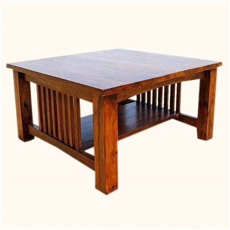 Square Wooden Coffee Table Rustic Solid Wood Square Coffee Table Furniture