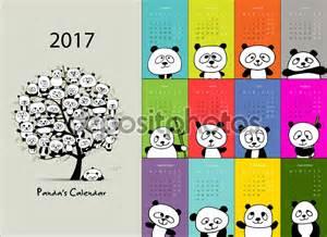 Design 2017 Panda Calendar 2017 Design Stock Vector 169 Kudryashka