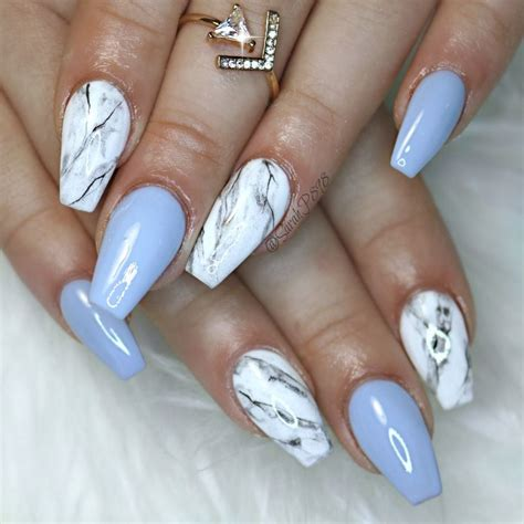 Acrylic Gel Nail Marble blue gel and marble nails marblenails coffinnails