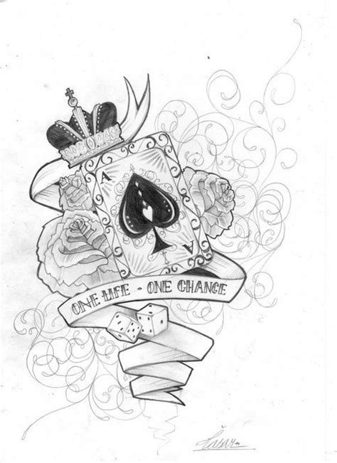 one life one chance tattoo designs quot one one chance quot with roses and card with