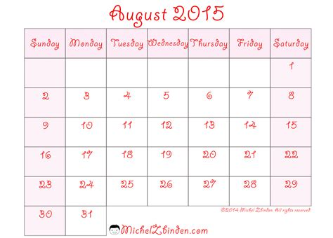 8 best images of printable august 2015 calendar week