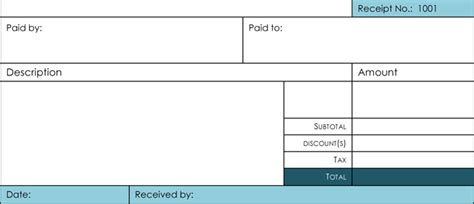 free access paid receipt template 6 sles of receipt template for excel and word