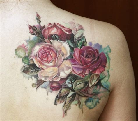 rose bouquet tattoo 65 trendy roses shoulder tattoos