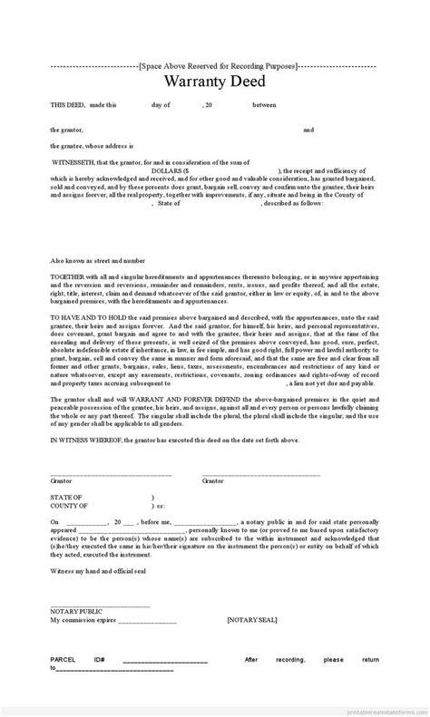 sle printable warranty deed form printable real