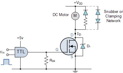 transistor driving inductive load mosfet as a switch using power mosfet switching