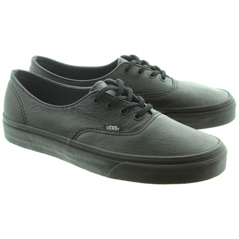 vans authentic leather lace shoes in all black in black black