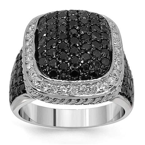 Cincin White Luxury Ring 020 10k white gold mens ring with black diamonds 6 50 ctw avianne co jewelry s