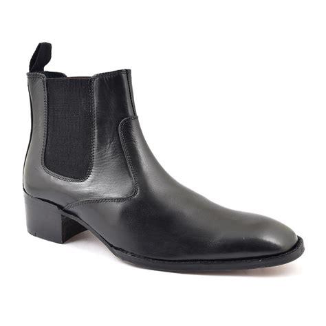 find mens black cuban heel chelsea boot gucinari