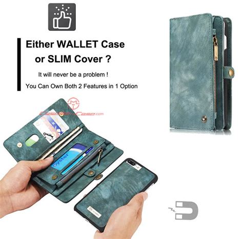 Caseme Iphone 7 Plus Wallet With 13 Slot Card Zipper caseme iphone 7 plus detachable 2 in 1 zipper wallet folio green