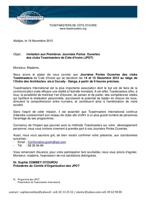 Exemple De Lettre D Invitation Colloque lettre invitation jpot