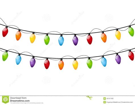 white or colored christmas lights color set of bulbs for your design cartoon vector