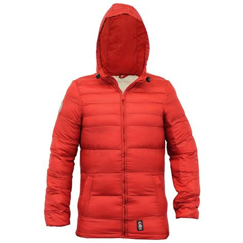 Padded Hooded Coat mens padded quilted hooded slim fit lined winter jacket