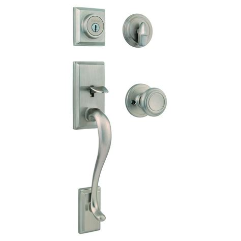 Handleset Door Knob by Kwikset Belleview Single Cylinder Antique Brass Handleset With Tylo Knob Featuring Smartkey