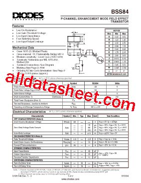 diodes inc bss84 bss84 데이터시트 pdf diodes incorporated