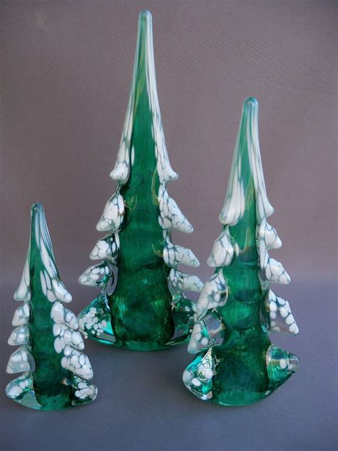 hand blown art glass christmas trees set of 3
