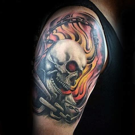 flaming skull tattoos 50 flaming skull tattoos for blazing bone design ideas