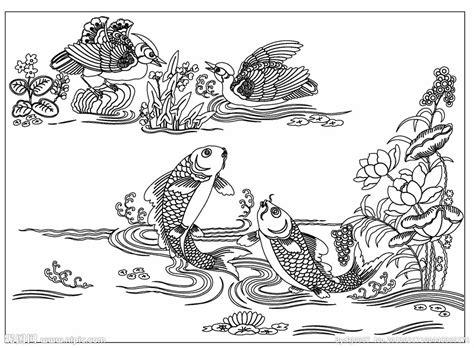 coloring book pdf 鱼鸟乐线描图矢量图 绘画书法 文化艺术 矢量图库 昵图网nipic