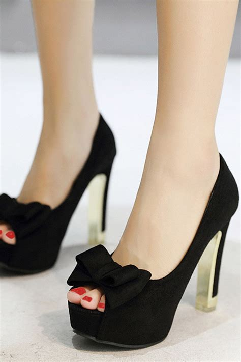 Bow High Heel Pumps black suede peep toe bow decor platform stiletto high heel