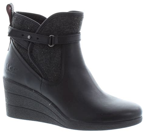 ugg emalie wedge ankle boots in black in black