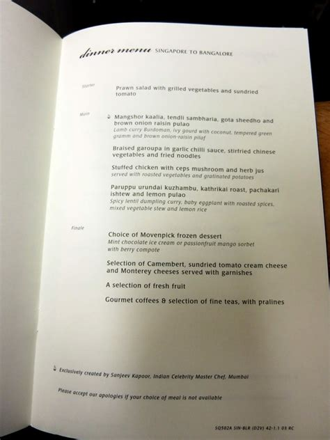 singapore airlines new year menu getting to india part 4 singapore airlines 777 biz class