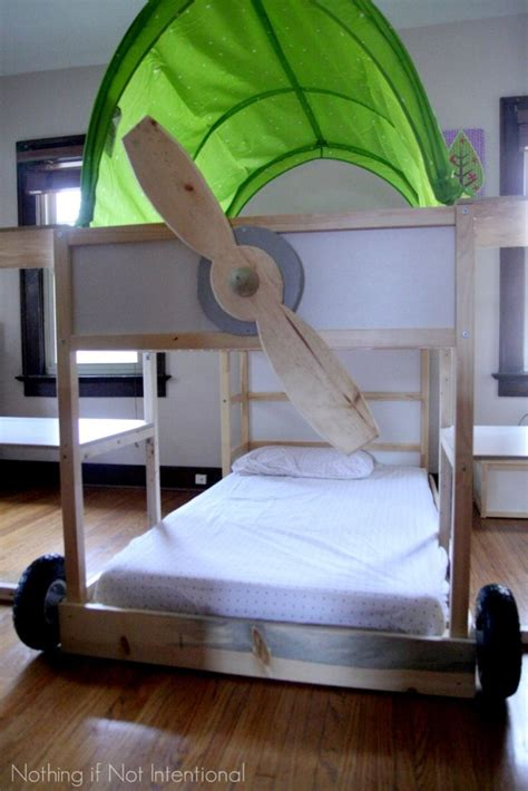 bunk bed hacks ikea bed hack kura loft turned into an airplane bunk bed