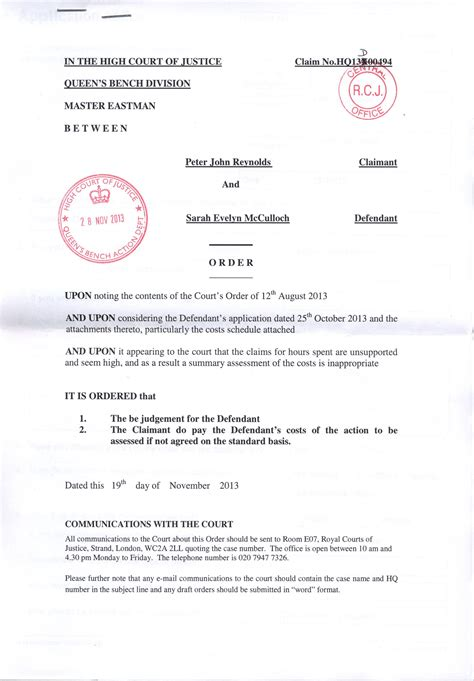 Judgement Explanation Letter Took Me To Court For Libel And Has Lost Sarahmcculloch