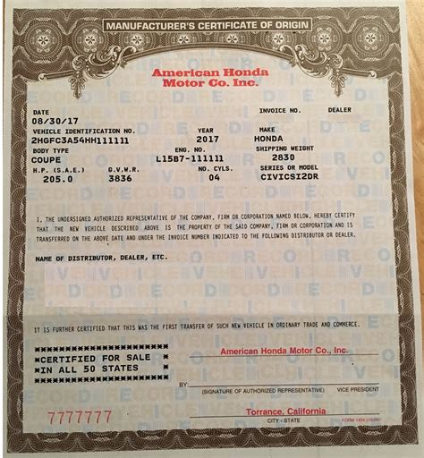 certificate of origin for a vehicle template certificate of origin for a vehicle vehicle ideas