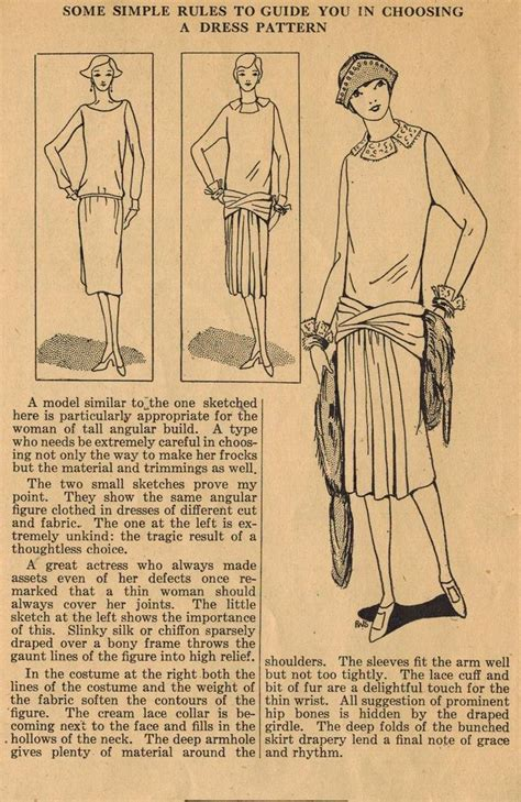 vintage pattern tips home sewing tips from the 1920s choosing a dress for a