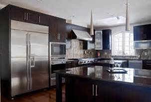 Crown Molding For Kitchen Cabinet Tops walnut contemporary kitchen modern kitchen cabinetry