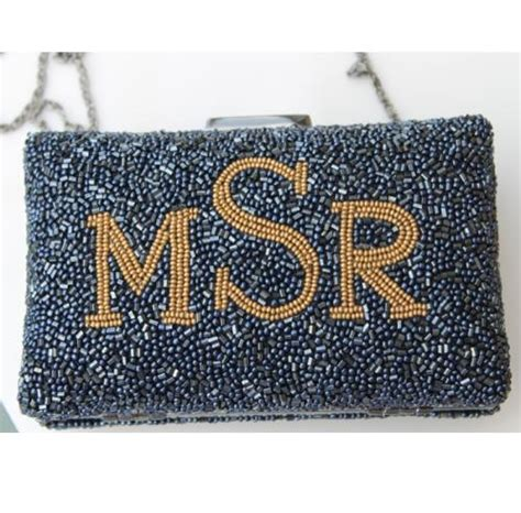 monogrammed beaded boxed evening bag