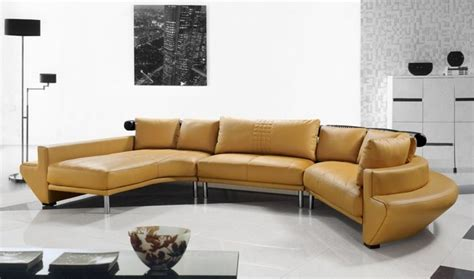 Contemporary Curved Sectional Sofa In Mustard Leather Modern Curved Sectional Sofa