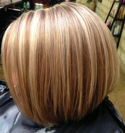 bob cut hairstyles with highlights blonde highlights inverted bob haircut hair by