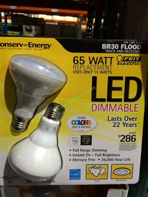 Led Light Bulbs Costco by Feit Dimmable 65w Br30 Led Flood 2 Pack Costcochaser