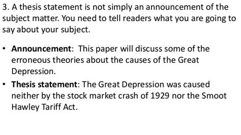 great depression thesis statement thesis statements and the drafting process help