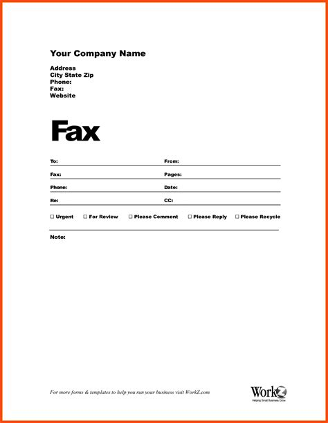 fax cover sheet template program format